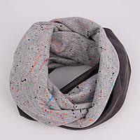 """Серый шарф """"Яркие Брызги"""", фото 1"""