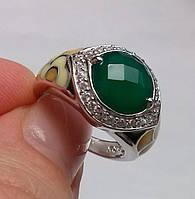 Серебряное кольцо с авантюрином (10мм) и эмалью