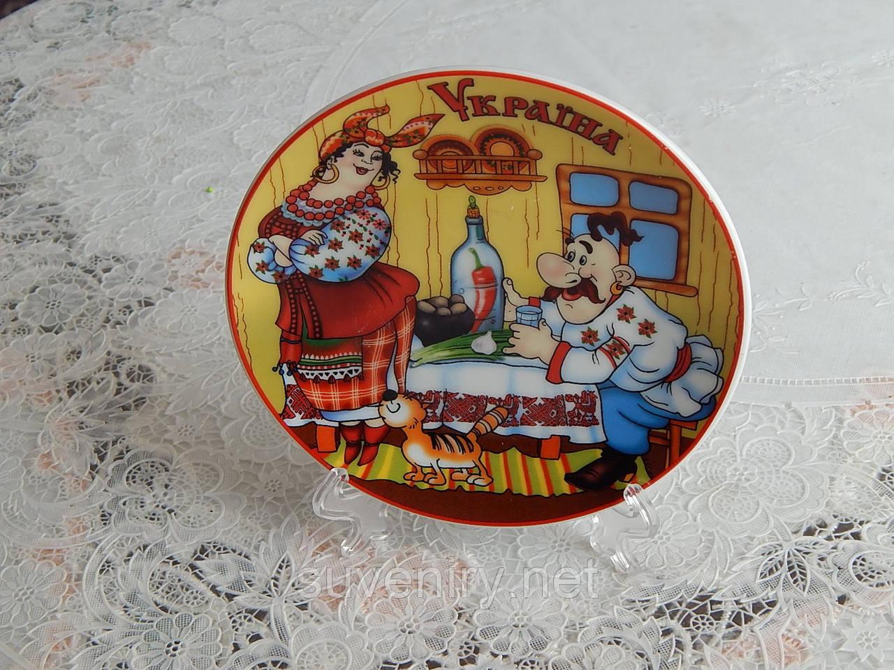 Сувенирная тарелка на подставке Украина