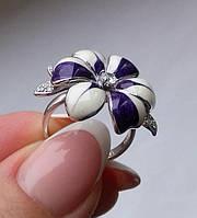 Кольцо с эмалью и фианитами. Серебро, родий. Таиланд