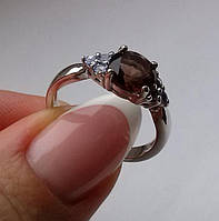 Регулируемое кольцо с дымчатым кварцем (8мм) и танзанитами