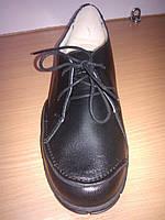 Женские осенние туфли кожаные на шнурках