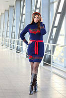Вязаная женская туника, платье Веночек. Синий+Красный