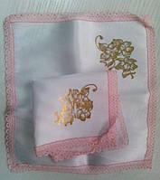 Свадебные платочки (атлас, печать) № 9 розовые