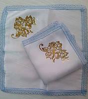 Свадебные платочки (атлас, печать) № 10 голубые