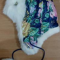 Шапка - ушанка для девочки Лора синяя