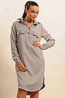 Прямое платье рубашка серого цвета