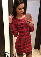 Стильное платье в клетку с кружевом купить в интернет-магазине не дорого