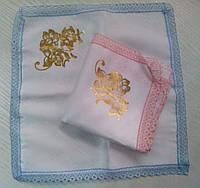Свадебные платочки (атлас, печать) № 11 розово-голубые