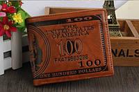 Кошелек мужской портмоне 100$ Доллар темно-коричневый
