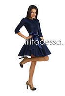 Коктейльное платье с поясом темно-синий