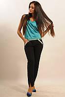 Атласна блуза вільного силуету довжиною до лінії талії, декорована по низу мереживом 42-52 розміру, фото 1