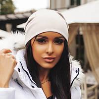 Женская теплая шапка, молочный