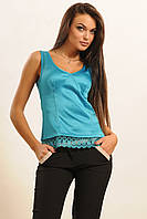 Атласная блуза эффектом корсета с кружевом 42-52 размера, фото 1