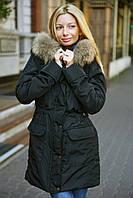 Куртка-парка теплая женская на меху с натуральным мехом енота большой размер черная