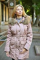 Куртка-парка теплая женская на меху с натуральным мехом енота большой размер пудровая