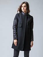 Комбинированное пальто с воротником-стойка