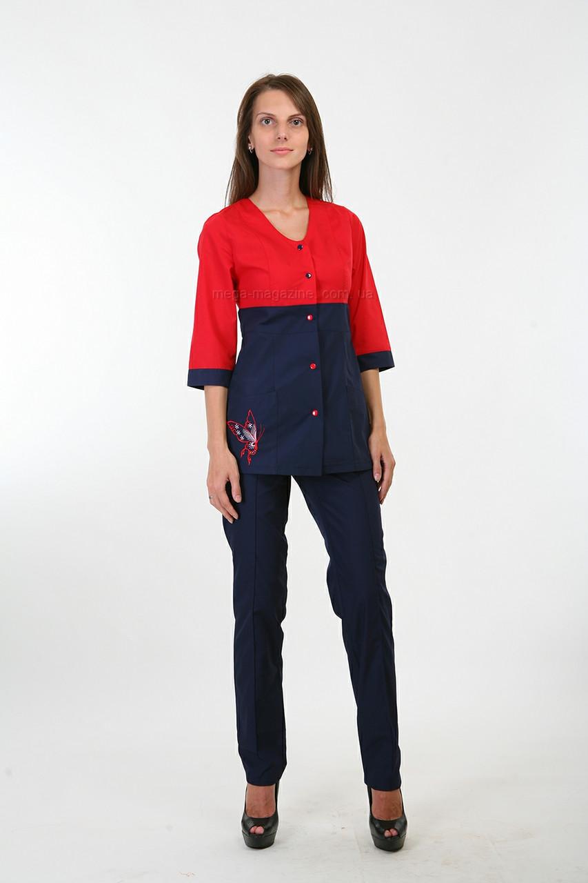 fd8f63548bb Медицинская форма костюм на кнопках с вышивкой Женский медицинский брючный  костюм - Медицинская одежда