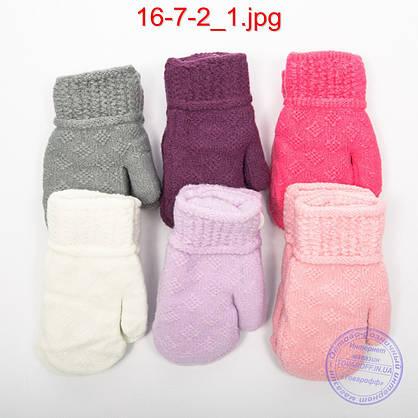 Оптом дитячі вовняні рукавиці з хутряною підкладкою - №16-7-2, фото 2