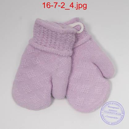 Оптом детские шерстяные варежки с меховой подкладкой - №16-7-2, фото 2