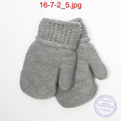 Оптом детские шерстяные варежки с меховой подкладкой - №16-7-2, фото 3