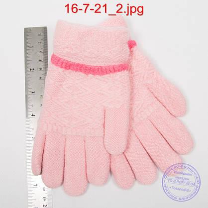 Оптом шерстяные перчатки для девочек двойные - №16-7-21, фото 2
