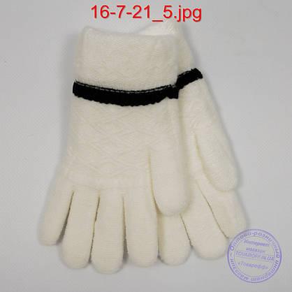 Оптом шерстяные перчатки для девочек двойные - №16-7-21, фото 3
