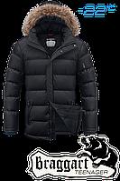 Куртка подростковая зимняя с растущим рукавом Braggart Teenager - 7652D черная