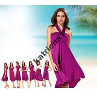 Стильное платье трансформер 7 в 1 вискоза S/M фуксия