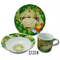 Детский набор посуды из фарфора с обезьянкой
