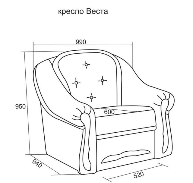 Кресло Веста не раскладное (размеры)