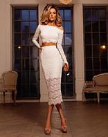 Кружевной костюм юбка и топ № 6523 длинный рукав