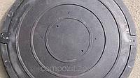 Люк полимерпесчаный круглый, нагрузка до 0,8 т. в черном цвете с замком
