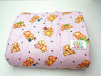 Детское стеганое одеяло (розовое со слониками)