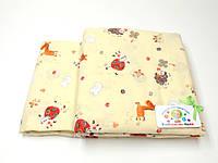 Детский байковый (фланель) постельный комплект (бежевый с животными)
