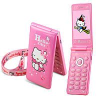 Телефон с котиком Hello Kitty D10 раскладушка на 2 сим карты хелло китти с сенсорным экраном
