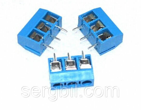 Клеммник KF301-3P шаг 5,08мм 15А 300В синий