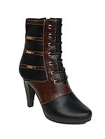 Короткие полусапожки женские демисезонные на каблуках черные размеры 36-41