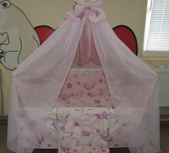 Комплект детского постельного белья Мишка пчелка на луне ТМ Gold 9 в 1 розовый
