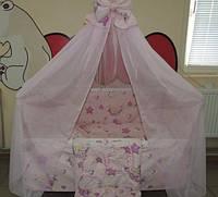 Комплект детского постельного белья Мишка пчелка на луне ТМ Gold 9 в 1 розовый, фото 1