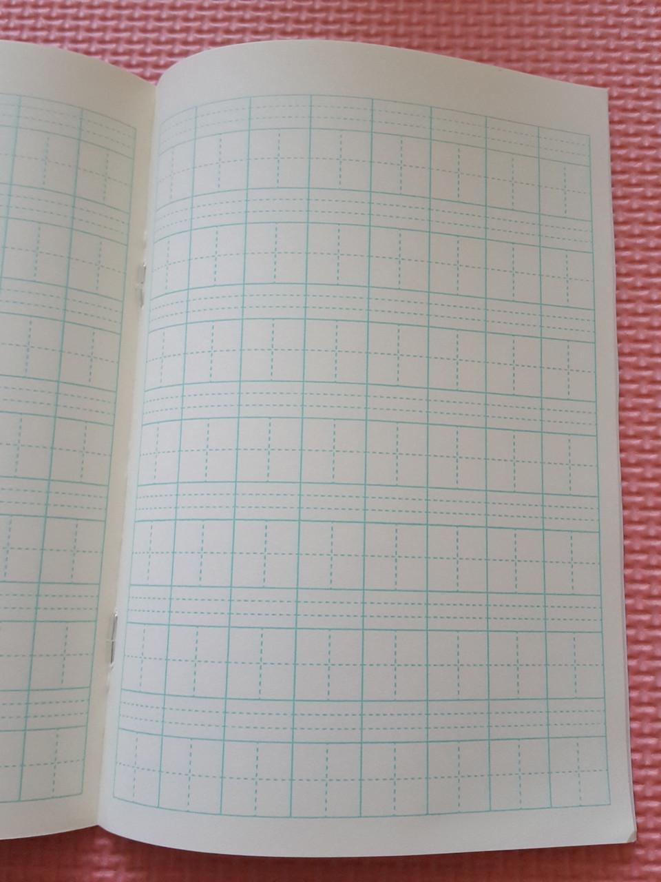 Тетрадь для написания иероглифов. Клетка 14 мм с пунктиром и расширенным полем для пиньинь. 2016 клеток