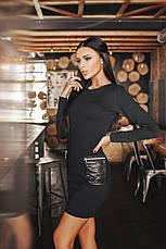Платье с карманами из экокожи, фото 3