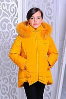 "Зимняя куртка для девочки ""Бант"" горчица,р.32,34,36,38,40,42"