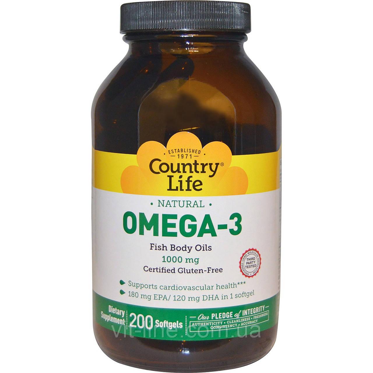 Омега -3 Country Life, Омега-3, 1000 мг, 200 мягких капсул