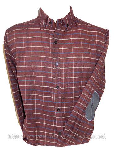 Рубашка мужская длинный рукав клетка латки