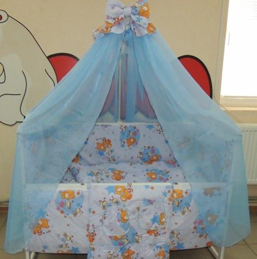 Комплект детского постельного белья Мишка пчелка на луне ТМ Gold 9 в 1 голубой