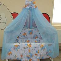Комплект детского постельного белья Мишка пчелка на луне ТМ Gold 9 в 1 голубой, фото 1