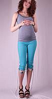 Бриджи для беременных с цветными вставками, бирюза и беж бриджи, для беременных, 50, 42-58, лето, Украина, бенгалин, Бриджи, цветочный принт и растительные узоры, голубой
