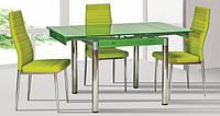 Стол стекло+ для кухни ТВ21 салатовый 80/130х65х75 см