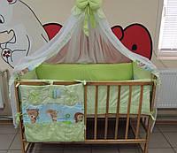 Детское постельное бельё в кроватку салатовое Лесные звери, фото 1